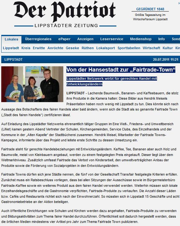 Der Patriot am 27.6.12 über die Bildung der Steuerungsgruppe Fairtrade Lippstadt