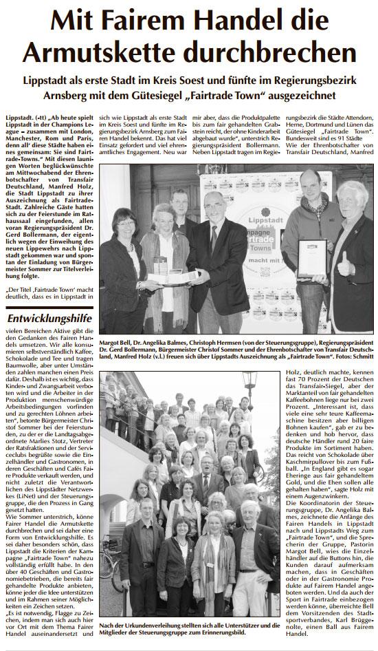 """Lippstadt am Sonntag 01.07.2012 """"Mit Fairem Handel die Armutskette durchbrechen"""""""