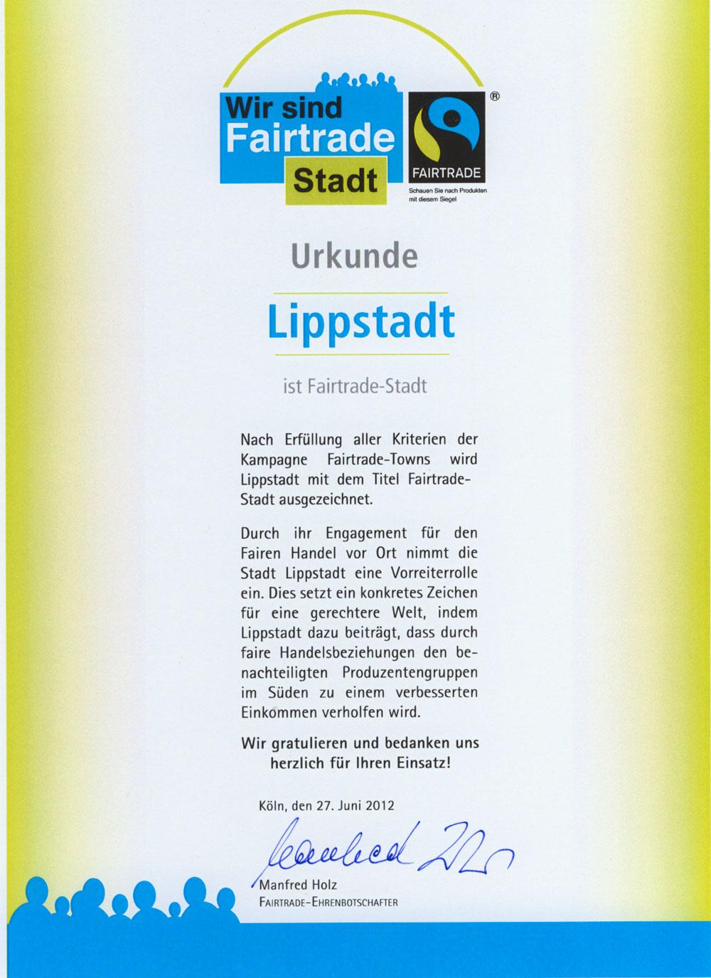 Urkunde Fairtrade Town Lippstadt 2012
