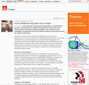 IG Metall Textilbündnis