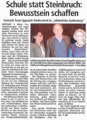 Der Patriot zur Fairtrade-Naturstein Veranstaltung