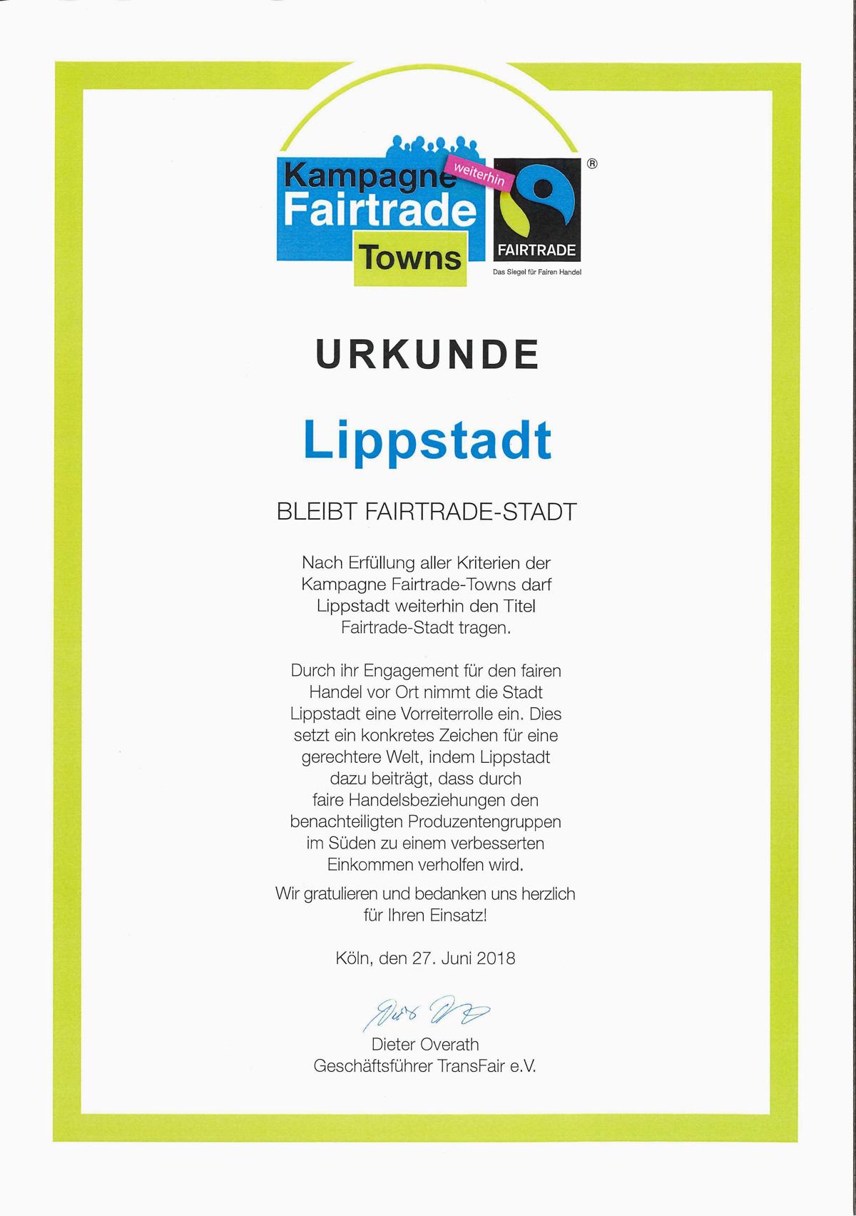Fairtrade-Town Lippstadt Urkunde 2018
