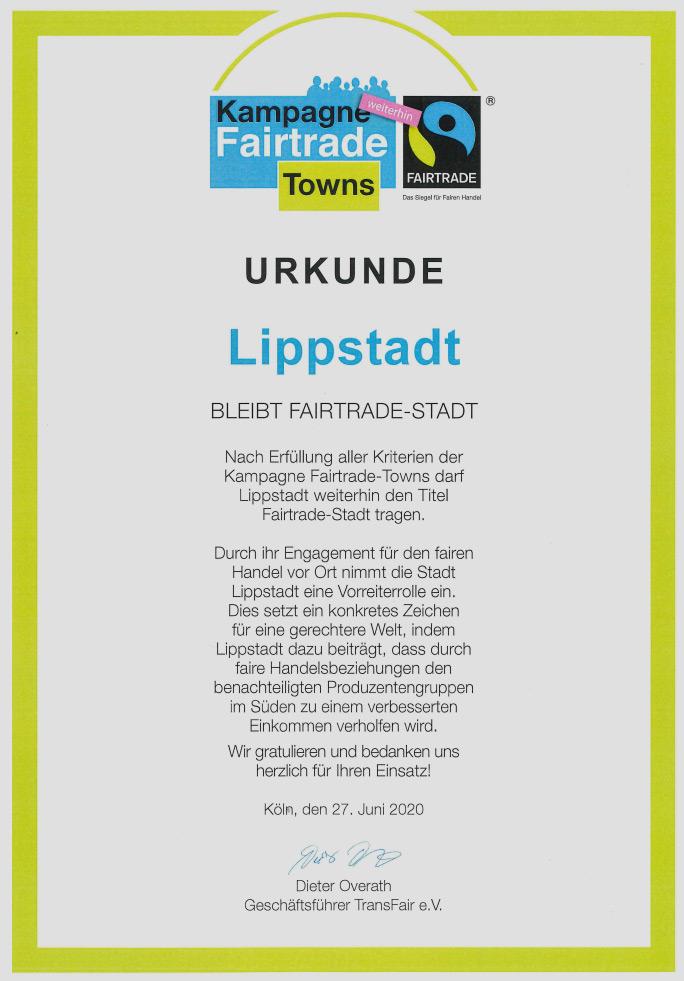 Urkunde Fairtrade Lippstadt
